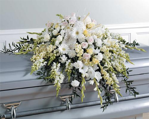 White and Pastel Casket Spray